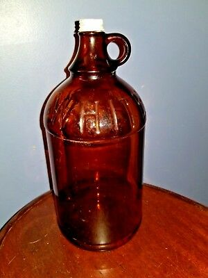 Vintage WHITE MAGIC Embossed 2-Qt Amber Duraglas Glass Bleach JUG  with TOP 1920
