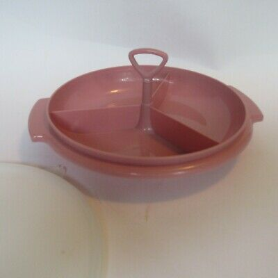 Vintage Tupperware Australia 1970s Pink Suzette divided tray removable handle.