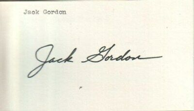 Jackie Gordon Autographed Index Card 1971 Legendary North Stars Hockey Manager