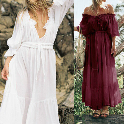 Summer Womens Beach Maxi Dress V neck Baggy Swing Kaftan Holiday Party Size 8-26