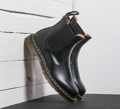 fe09f7af0b7f DR. MARTENS 2976 YELLOW STITCH Black Smooth Leather Chelsea Boots 22227001  NEW!