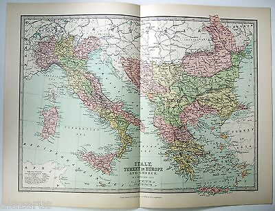 Original 1875 Map of Italy, Turkey in Europe & Greece by J Bartholomew. Antique