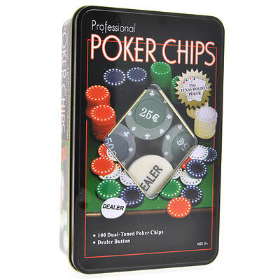Set Poker Fiches Chip Gettoni Chips 100 Pezzi 5 Colori Con Dealer Texas Hold Em