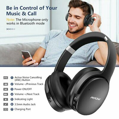 Mpow H10 Active Noise Cancelling Wireless Bluetooth Headphones ANC Bass Headset