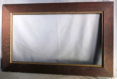 BIG Antique Arts Crafts Quarter Sawn Dark Oak Carved Gilt 16x30 Picture Frame