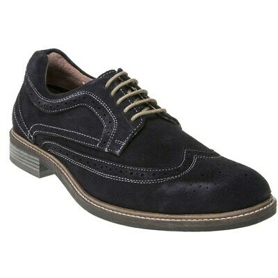 New Mens Lotus Navy Alfred Suede Shoes Brogue Lace Up