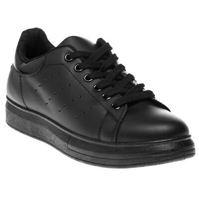 New Womens Falcon Black Kim Platform Synthetic Trainers Court Lace Up