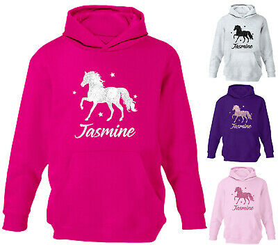 Childrens Personalised Glitter Horse Hoodie Girls Boys Riding School Hoody Top