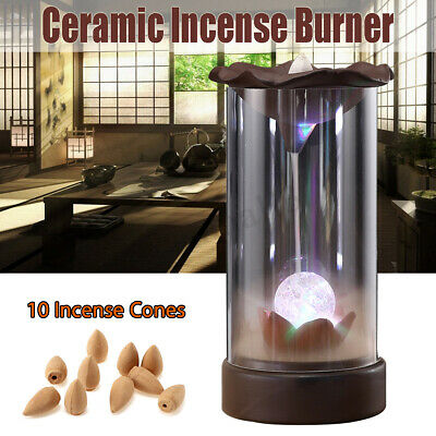 AU Ceramic Backflow Incense Burner Smoke Cones Holder Sticks Censer Clay Decor