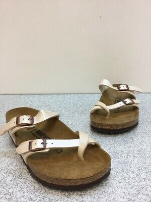 eb465bb9d33 Birkenstock Mayari Graceful pearl white Birko-Flor Buckle Slide Sandals  Size 38