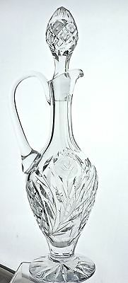 Vintage Cut Glass Or Crystal Tall Decanter/jug/carafe,flower,quilted Pattern