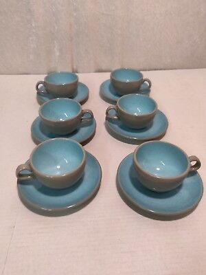 Harkerware Stone China Set of 6 cups with saucers, Blue Mist, Mid-century Modern