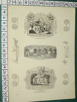 1845 Print ~ Saxon Emblems July Silver Penny Ethelwulf Egbert Wheel Plough Coins