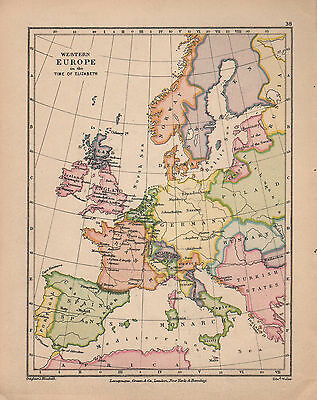 1899 Victorian Double Sided Map ~ Europe Time Of Elizabeth ~ Spanish Monarchy