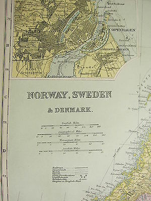 1905 Antique Map ~ Norway Sweden & Denmark Copenhagen Stockholm Christiania
