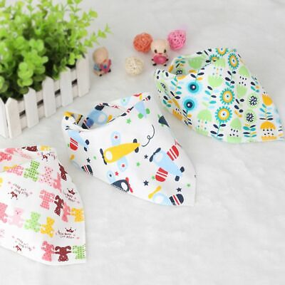 Cute Cartoon Baby Cotton Bib Kids Infant Lunch Apron Soft Triangle Saliva Towel