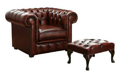 Chesterfield Low Back Club Chair Armchair Antique Oxblood Red Leather Footstool