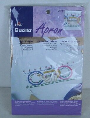 "Bucilla Stamped for Embroidery Teapot Apron 65219 Bibbed Apron 30 x 34"" Sealed"