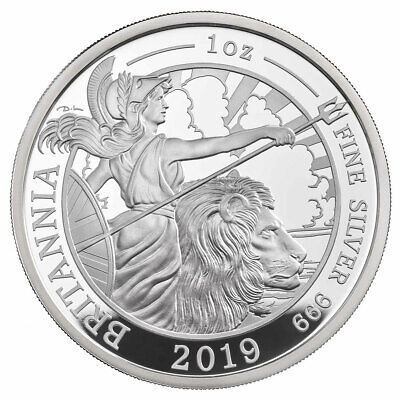 2019 Great Britain 1 oz Silver Britannia Proof £2 Coin GEM Proof OGP SKU57299