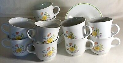 10 Corelle Meadow Cups And Saucers