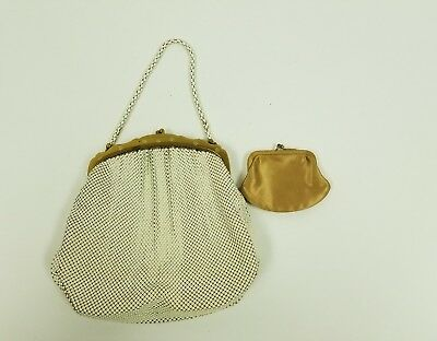 Vintage Whiting And Davis Mesh Purse White Gold Retro Kiss Lock Coin Bag Include
