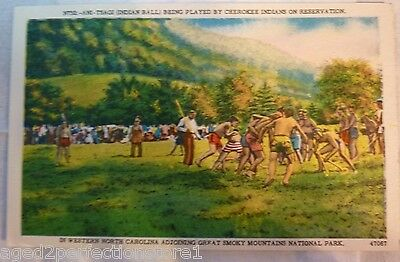 Old Native American Postcard Ani-Tsagi Being Played By Cherokee Indians