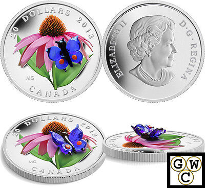 2013Purple Coneflower&Eastern Tailed Blue Murano Glass Prf $20Sil 1oz9999(13191)