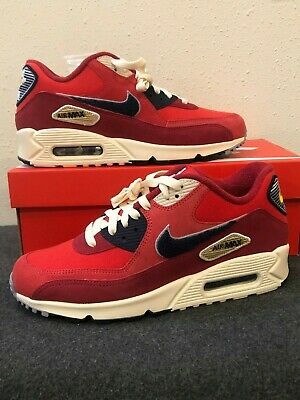 0588853953 NIKE AIR MAX 90 Premium SE Men's Shoes Sizes (8-11) Red Varsity Pack ...