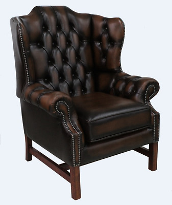 Chesterfield Churchill High Back Cushioned Wing Armchair Antique Brown Leather