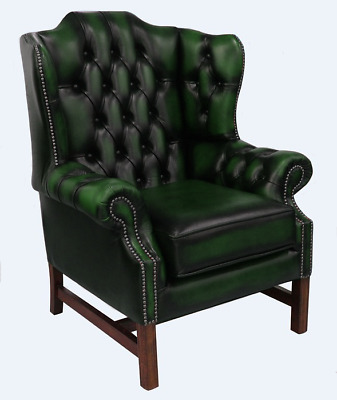 Chesterfield Churchill High Back Cushioned Wing Armchair Antique Green Leather