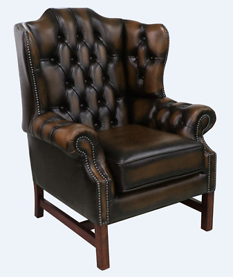 Chesterfield Churchill High Back Cushioned Wing Armchair Antique Tan Leather