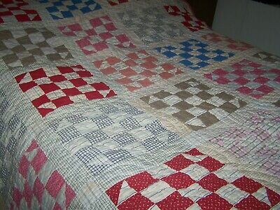 Antique Homespun Hand Quilted  Patches Completed Quilt Nice Old Colors