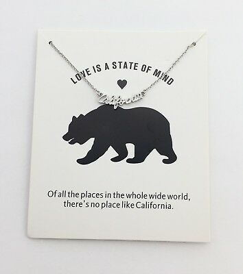 California USA love is a state of mind bear silver tone dainty small necklace