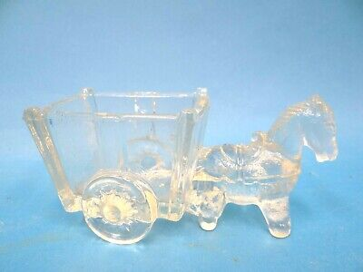 Antique Old Sugar Packet Salt Horse Drawn Carriage Buggy Container Clear Glass