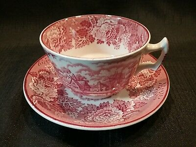 Vintage Wood & Sons ENGLISH SCENERY Pink Cup & Saucer Enoch Woods Made n England
