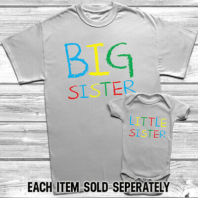 Big Sister Little Sister T-Shirt Kids Baby Grow Sisters Outfits *NEW*
