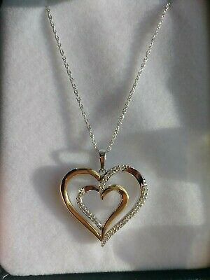 Diamond Double Heart Pendant in Two-Tone Sterling Silver and 10k Yellow Gold