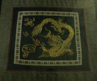Framed Chinese Dragon embroidery 320mm  345mm