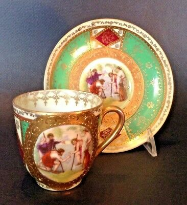 Royal Vienna Demitasse Teacup And Saucer - Classical Green Red Gold - Beehive