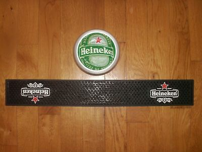 Lot Tapis De Bar + Cendrier Vide Poche Heineken - Collector