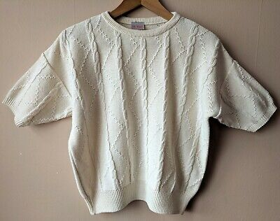 80s 90s vintage cream cable knit top 16-18 cotton blend short sleeved jumper