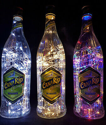 Canario Cachaça - Flaschen Lampe mit 80 LEDs Farbauswahl Upcycling Geschenk Idee