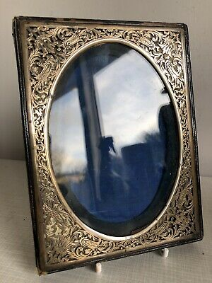 Antique Vintage Brass Leather Etched Cutout Art Nouveau Portrait Picture Frame