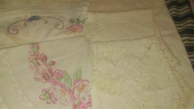 8 Vtg Hand Made Cotton Lace Doilies  Old