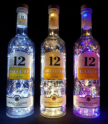Ouzo 12 Gold - Flaschen Lampe mit 80 LEDs Farbauswahl Upcycling Geschenk Idee