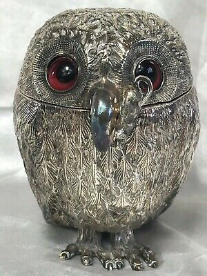 Rare Antique Victorian Silver Plate Owl Mustard Pot Mouse Spoon After George Fox