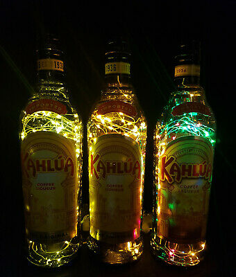 Kahlua - Flaschen Lampe mit 80 LEDs Farbauswahl Upcycling Geschenk Idee