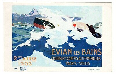 Postcard French Evian-Les-Bains 1906 Boating Races (0219)