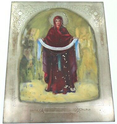 Superb / Large / Vintage Handpainted On Metal Plate Virgin Mary Russian Icon.