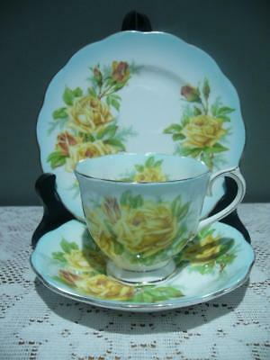 Royal Albert Bone China Trio - Tea Rose - Rare Aqua Blue Ground - High Tea - Gc
